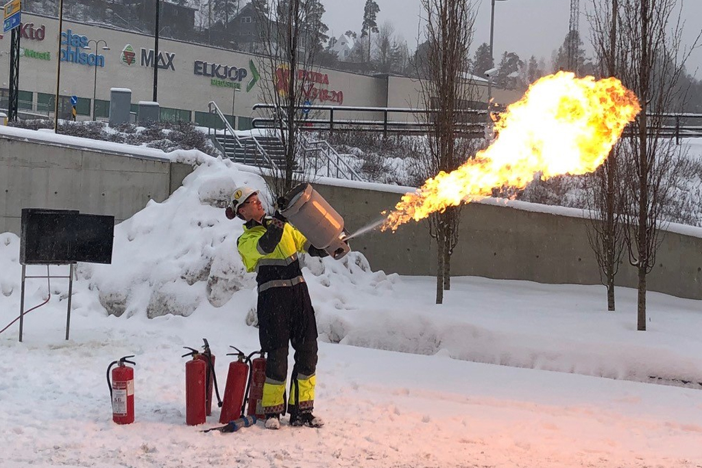 Kun pulver slukker gassbranner