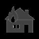 Brann i hus symbol